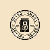 Photography logo. Vector vintage old camera label, badge, emblem. Hand sketched illustration for studio, store etc. Royalty Free Stock Image