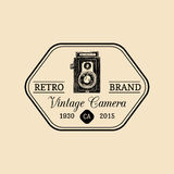 Photography logo. Vector vintage old camera label, badge, emblem. Hand sketched illustration for studio, store etc. Royalty Free Stock Photography