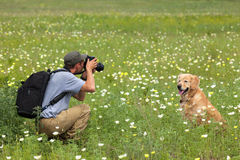 Photography man and his dog on a meadow Royalty Free Stock Photos