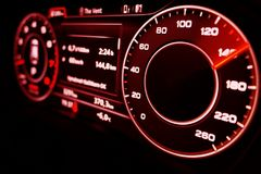 Modern Speedometer. Photography of a modern car virtual speedometer during speeding Stock Image