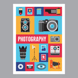Photography - mosais flat design poster. Vector icons set. Stock Image