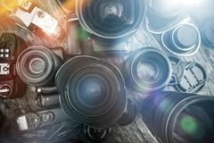Photography Is My Passion. Professional Photography Equipment on the Table. Lenses, Cameras and Other Equipment For a Pro Photo Shooting Royalty Free Stock Images