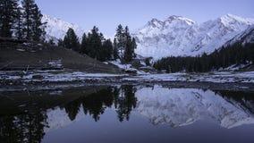 The photography of Nanga Parbat mountain range with water reflection. Gilgit-baltistan , Pakistan stock photos