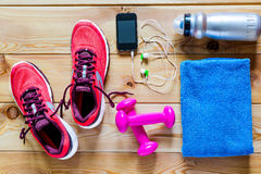 Photography   objects for sports. Photography on the floor objects for sports Stock Photo