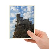 Photography of old castle in hand Stock Images