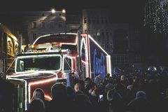 Photography of People Gathered Beside Coca-cola Truck during Nighttime Stock Photography