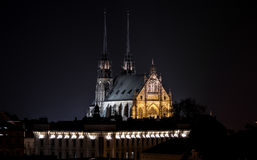 Petrov, Brno. Photography of Petrov church in Brno at night, Moravia, Czech Republic Royalty Free Stock Photo