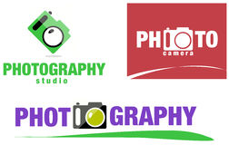 Photography / photo camera logo set Royalty Free Stock Images