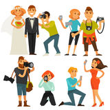 Photography and photographers at travel, wedding or smartphone selfie vector flat icons. Photographers people taking photograph with camera at travel, on wedding Stock Photography