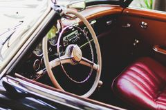 Photography of Red Leather Vehicle Interior Stock Image