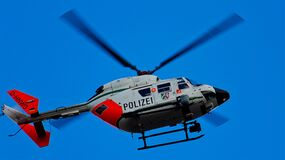 Photography of Red White and Blue Helicopter royalty free stock photo