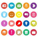 Photography related item flat icons on white background Stock Image