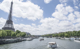 Photography of Sailing Boats Travelling Near Eiffel Tower during Daytime Stock Photos
