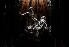 Photography of the sculpture Ecstasy of Santa Teresa. Photography of the sculpture Ecstasy of Saint Teresa, located in one of the churches of Rome stock images