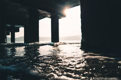 Photography of Sea Water Under The Dock stock photography