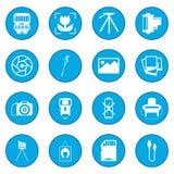 Photography set icon blue. Isolated vector illustration Stock Photo