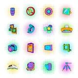 Photography set icons, pop-art style. Photography set icons in pop-art style on a white background Stock Photography