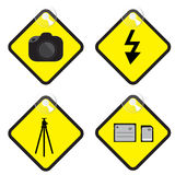 Photography sign in yellow tag vector illustration. EPS10 Royalty Free Stock Photography