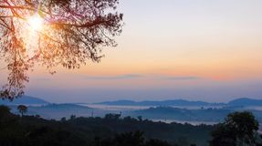Photography with silhouette panorama and landscape, morning with mist on sunrise so beautiful scene stock photos