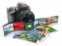 Photography. Slr camera, film and photos. 3d Royalty Free Stock Photography