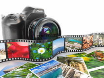 Photography. Slr camera, film and photos. Stock Photo