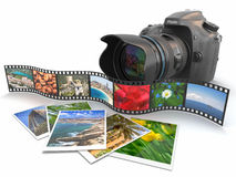 Photography. Slr camera, film and photos. Stock Photos