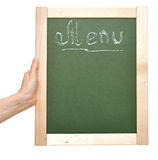 A photography of a small chalk board menu Stock Photography