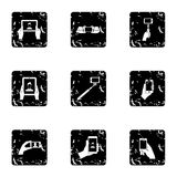 Photography on smartphone icons set, grunge style. Photography on smartphone icons set. Grunge illustration of 9 photography on smartphone vector icons for web Stock Photo