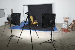 Photography Studio. Lights, stands, and a backdrop can be seen in a photography studio Royalty Free Stock Photos