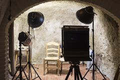 a photography studio in a cave stock photography