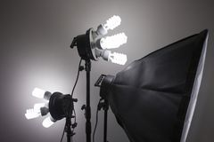 Photography studio equipment lighting. Photo of an emptyEmpty space for your text or objects. royalty free stock photo