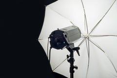 Photography Studio Flash Head with Umbrella Royalty Free Stock Photography