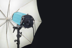 Photography Studio Flash Head with Umbrella Royalty Free Stock Photography