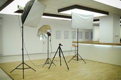 Photography Studio. Indoor Photography Studio With Several Lighting Equipment Stock Image