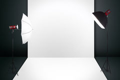 Photography studio with a light set up and backdrop royalty free illustration