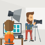 Photography studio with a light set up and white Royalty Free Stock Photography