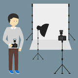 Photography Studio with a Light Set Up Stock Image