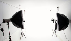 Photography studio. Lights and equipment royalty free stock image