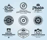 Photography Studio Logo, Labels, Icons and Design Elements. Vector photography logo templates. Photo studio logo. Photographer logo. Camera shutter, photo camera Royalty Free Stock Photo