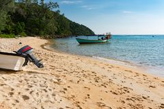 Photography of Sunset Beach at Koh Rong Samloem. Panoramic photography of Sunset Beach at Koh Rong Samloem island during sunset, Cambodia Stock Photos