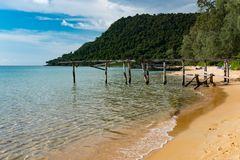 Photography of Sunset Beach at Koh Rong Samloem. Panoramic photography of Sunset Beach at Koh Rong Samloem island during sunset, Cambodia Stock Photo