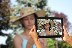 Photography with tablet Stock Image