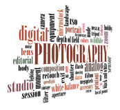 Photography tag cloud. Artwork with spherical lighting Stock Images