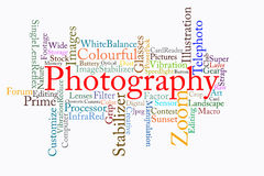 Photography text cloud Royalty Free Stock Photos