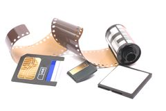 Photography Then and Now. 35mm film and three different memory cards Stock Images