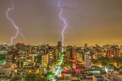 Photography of Thunder Strike Behind City Royalty Free Stock Photo