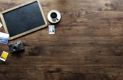 Photography of Tray, Coffee Cup and Camera on Table Top stock photos