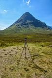 Photography tripod in Glencoe, Scotland. Photography tripod in Glencoe mountains, in Scotland Royalty Free Stock Photography