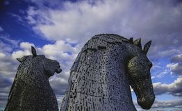 Photography of Two Silver Horse Statue Stock Photography