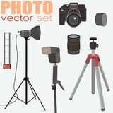 Photography vector set - collection of photo equipment. Nice vector set of photo equipment: camera, film 35mm, flash, lightning equipment, lens, lens hood Royalty Free Stock Images